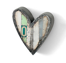 Small Green Heart with O by Anthony Hansen (Metal Wall Sculpture)