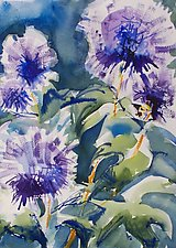 Globe Thistle I by Alix Travis (Watercolor Painting)