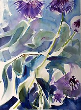 Globe Thistle II by Alix Travis (Watercolor Painting)