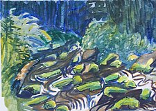 Moss on Boulders by Alix Travis (Watercolor Painting)