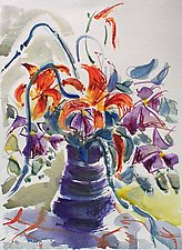 Day Lillies, Clemantis with Garlic Scapes II by Alix Travis (Watercolor Painting)