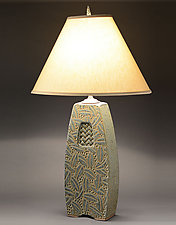 Lamp with Woven Inset and Leaf Carving by Jim and Shirl Parmentier (Ceramic Table Lamp)