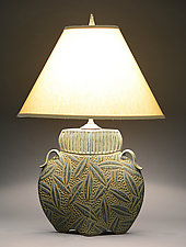 Arts and Crafts Lamp with Leaf Carving by Jim and Shirl Parmentier (Ceramic Table Lamp)