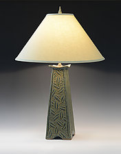 Mission Lamp with Leaf Carving by Jim and Shirl Parmentier (Ceramic Table Lamp)