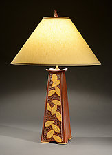 Mission Lamp with Painted Leaves by Jim and Shirl Parmentier (Ceramic Table Lamp)