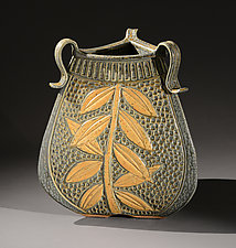 Three-Sided Vessel with Leaves by Jim and Shirl Parmentier (Ceramic Vessel)