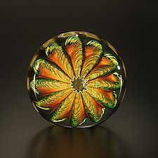 Topaz and Aventurine Paperweight by The Glass Forge (Art Glass Paperweight)