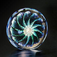 Purple, Blue & Green Paperweight by The Glass Forge (Art Glass Paperweight)