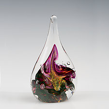 Salmon Lavender Flame by The Glass Forge (Art Glass Paperweight)