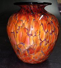 Earth-Toned Ruby Squat Vase by The Glass Forge (Art Glass Vase)