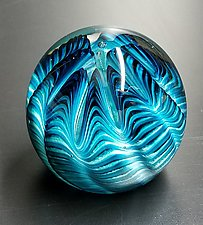 Aqua Sea Urchin by The Glass Forge (Art Glass Paperweight)