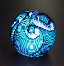 Aqua Three Twist Flower by The Glass Forge (Art Glass Paperweight)