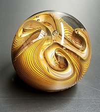 Topaz Three Twist Flower by The Glass Forge (Art Glass Paperweight)