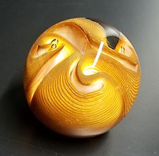 Glowing Three Twist Flower by The Glass Forge (Art Glass Paperweight)