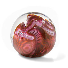 Salmon Three Twist Flower by The Glass Forge (Art Glass Paperweight)