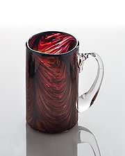 Red Feathered Swirl by The Glass Forge (Art Glass Mug)
