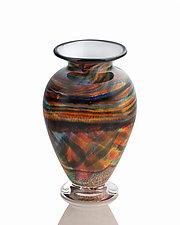 Earthtone Rainbow Trail by The Glass Forge (Art Glass Vase)