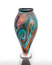 Overlay Swirled Vase by The Glass Forge (Art Glass Vase)