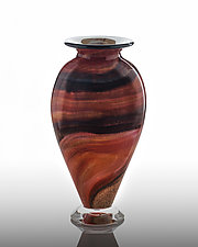 Earthtone Ruby Trail by The Glass Forge (Art Glass Vase)