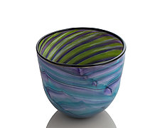 Feathered Aqua Bowl by The Glass Forge (Art Glass Bowl)