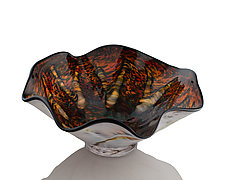 Yobro Earth-Tone Ruffle Bowl by The Glass Forge (Art Glass Bowl)