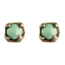 Varascite Studs by Natalie Frigo (Brass & Stone Earrings)