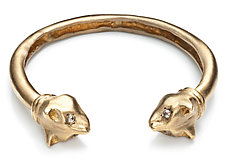 Playing Cat Cuff in Brass by Natalie Frigo (Brass & Stone Bracelet)