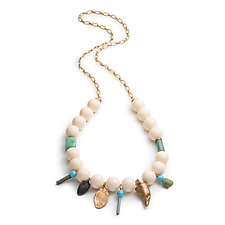 Large Claw and Vintage Lucite Necklace by Natalie Frigo (Bronze, Acrylic & Stone Necklace)