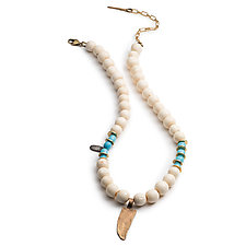 Vintage Bone and Dagger Necklace by Natalie Frigo (Bronze & Bead Necklace)
