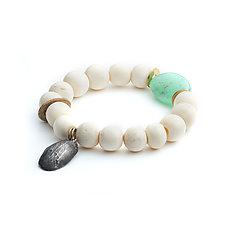 Chrysoprase and Vintage Bone Bracelet by Natalie Frigo (Bead Bracelet)