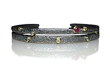 Pebble Texture Cuffs by Jenny Reeves (Silver & Stone Bracelet)