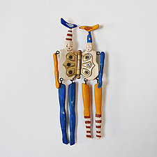 Love Birds in Blue and Yellow by Elizabeth Frank (Wood Wall Sculpture)