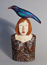Raven Girl by Elizabeth Frank (Wood Sculpture)