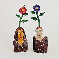 Mr. and Mrs. Flower by Elizabeth Frank (Wood Sculpture)