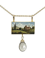 Tuscan Vineyard Painted Pendant by Christina Goodman (Gold & Stone Necklace)