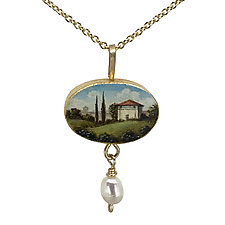 Painted Oval Villa Pendant by Christina Goodman (Gold & Pearl Necklace)