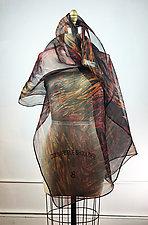 Hand Painted Arashi Shibori Shawl by Michael Kane  (Silk Scarf)