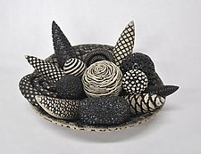 Black and White Bowl and Rattles by Kelly Jean Ohl (Ceramic Sculpture)