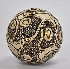 Large Ceramic Ball Rattle #2 by Kelly Jean Ohl (Ceramic Sculpture)