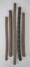 Five Irregular Jumbo Wall Sticks by Kelly Jean Ohl (Ceramic Wall Sculpture)