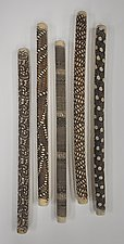 Five Irregular Wall Sticks by Kelly Jean Ohl (Ceramic Wall Sculpture)