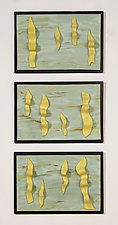 Yellow Ribbon Triptych by Kristi Sloniger (Ceramic Wall Sculpture)