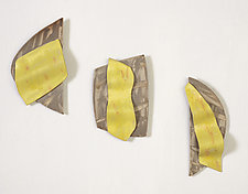 Yellow Ribbon Tryptich by Kristi Sloniger (Ceramic Wall Sculpture)