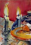 Cake with Candles by Alix Travis (Watercolor Painting)