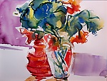 Two Vases of Nasturtium by Alix Travis (Watercolor Painting)
