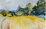 Mountain Valley with Hay Bales by Alix Travis (Watercolor Painting)