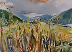 View of Mountain Valley by Alix Travis (Watercolor Painting)