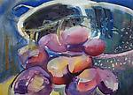 Grapes Falling From Colander by Alix Travis (Watercolor Painting)