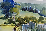 Mountain Valley Field with Hay Bales by Alix Travis (Watercolor Painting)