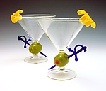 Olive Martini Cocktail Glass by Garrett Keisling (Art Glass Stemware)